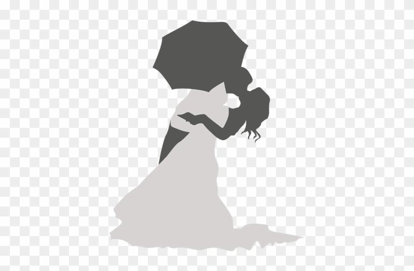 Kissing Wedding Couple Under Umbrella - Guarda Chuva Colorido Com Corações Png #1127566