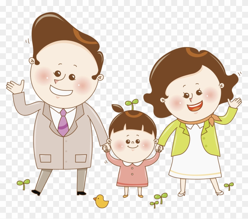 Mother Father Parent Child - Mother And Father Kiss Cartoon #1127948