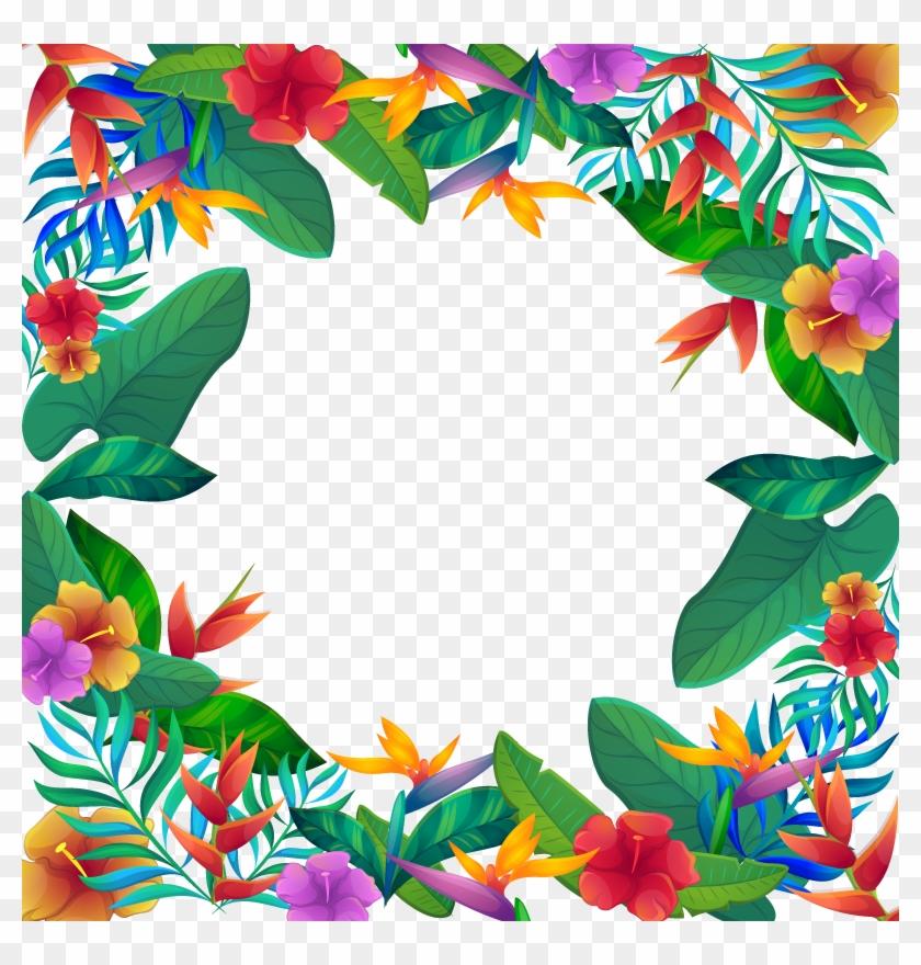 Vector Tropical Flowers Moldura De Flores Tropicais Free