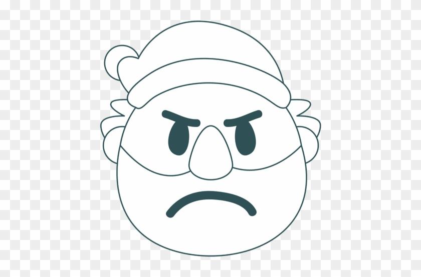 Frown Santa Claus Green Stroke Emoticon 25 Transparent - Stroke #1129111