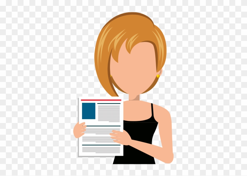 Businesswoman With Curriculum Vitae Cartoon Free Transparent Png