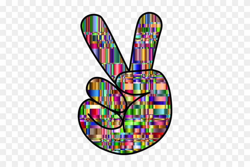 Colorful, Prismatic, Chromatic - Colorful Hand Peace Signs #1139135