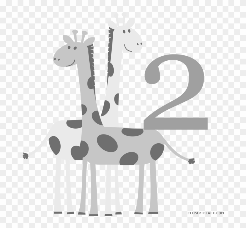 Baby Animals Animal Free Black White Clipart Images - Giraffe Drawing For Kids #1139897