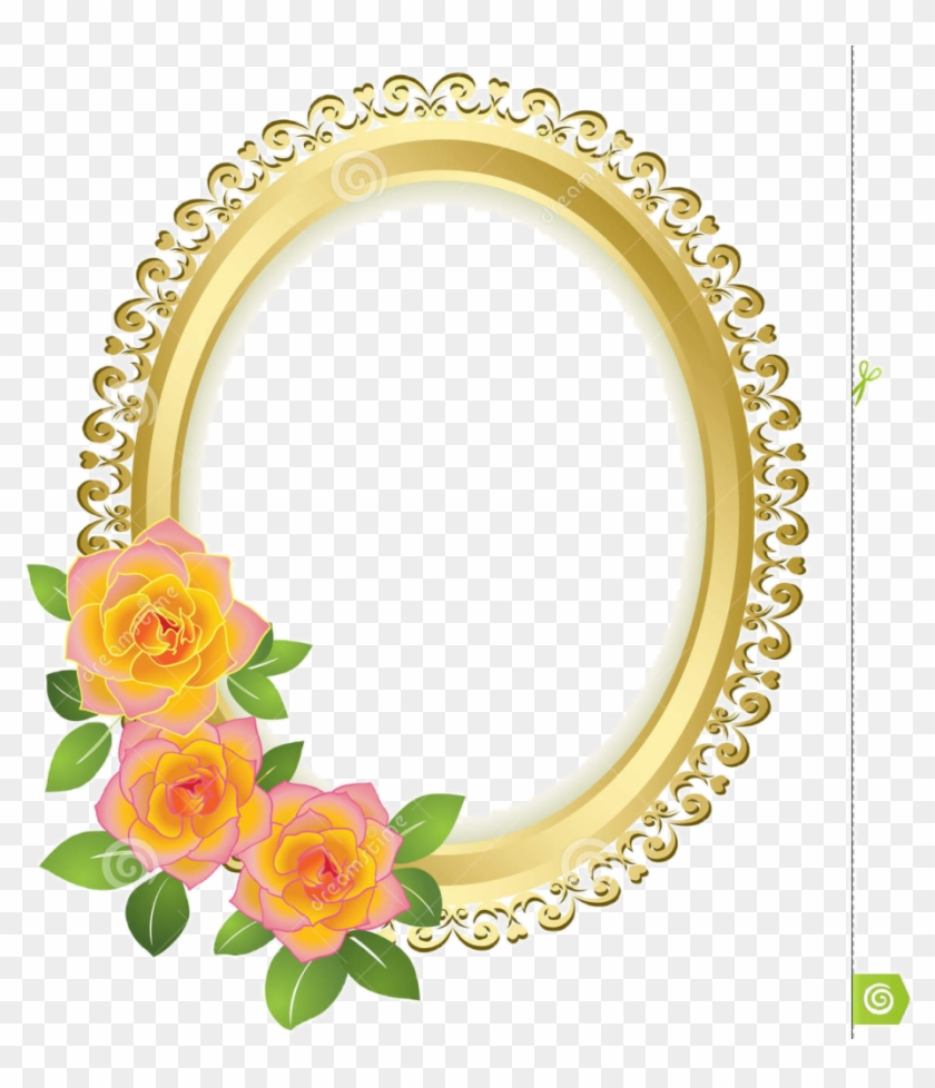 Borders And Frames Picture Frames Gold Flower - Oval Frame Png Flower #1140979