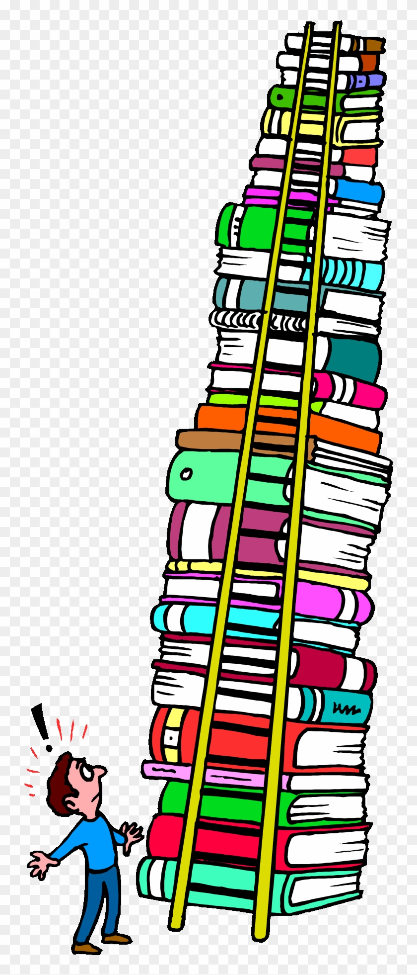 bobook clipart tall stack - tall stack of books clipart - free