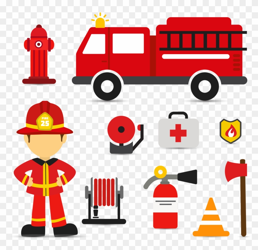 Firefighter Fire Engine Euclidean Vector - Fire Truck Svg #189898