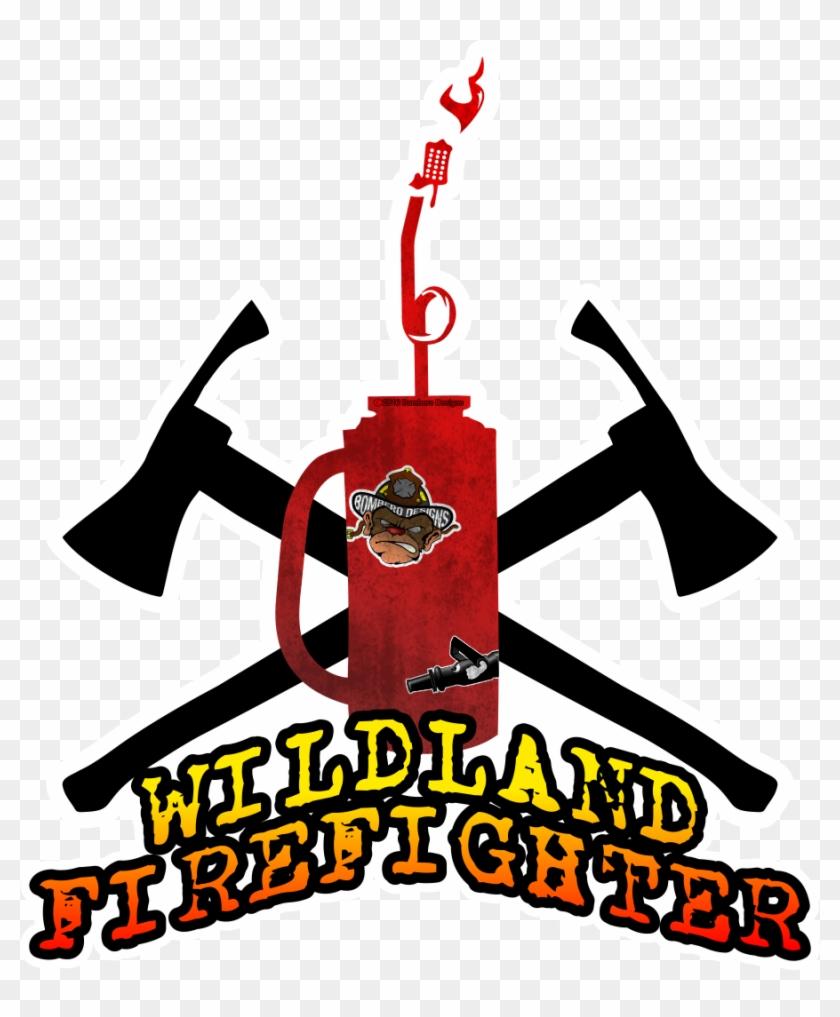 Wildland Firefighter Sticker We Love Wildland Firefighters - Crossed Pulaski's #189955