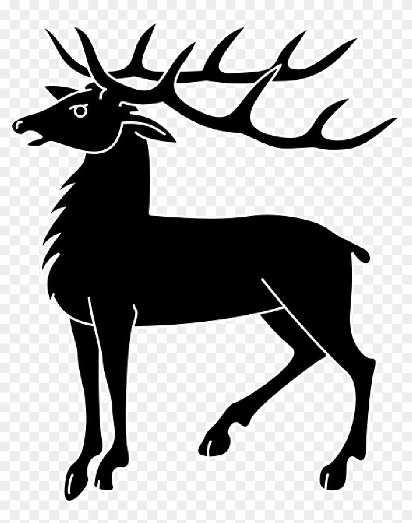 Antlers Silhouette, Deer, Horns, Animal, Mammal, Antlers - Deer Coat Of Arms #190676