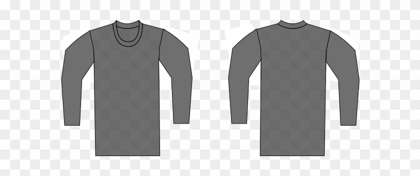 Gray Clipart Tshirt - Grey Long Sleeve T Shirt Template #192169