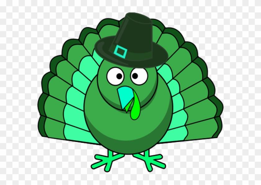 Turkey Clipart Green - Thanksgiving Turkey Cartoon #192877