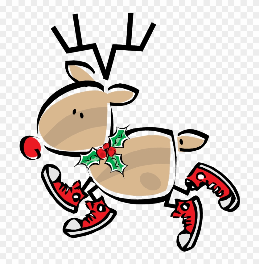 Dental Office Cliparts - Christmas, Simple Figure Red Nosed Reindeer Card #192999
