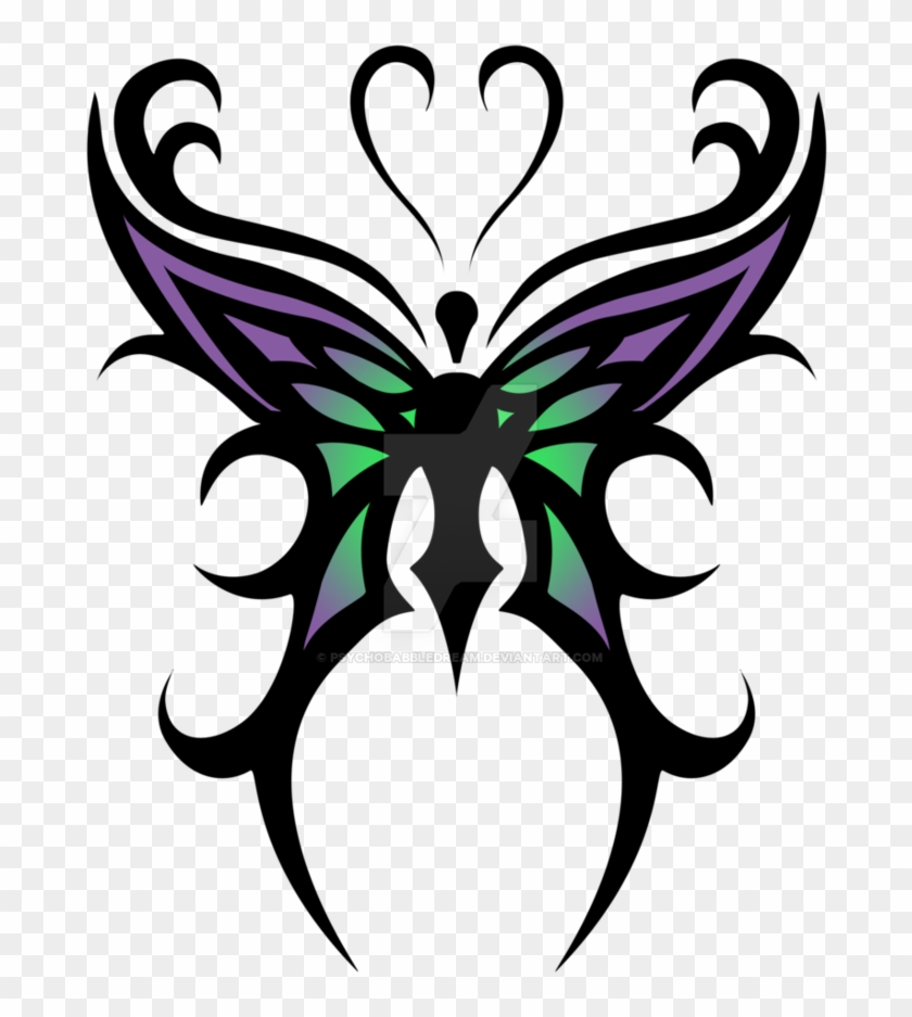 Cool Color Tribal Butterfly Tattoo Design By Psychobabbledream - Butterfly Tribal Tattoo Designs #1144901