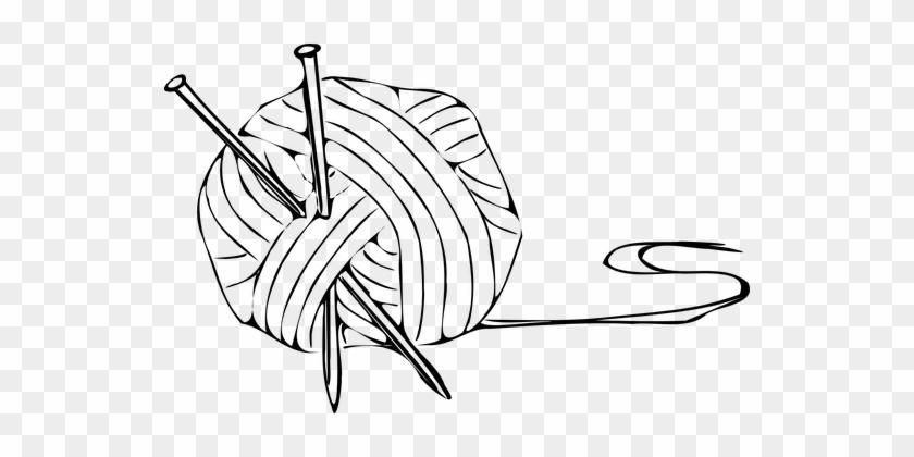 Yarn Knitting Ball Needles Wool Thread Woo - Ball Of Yarn Clipart #1150078