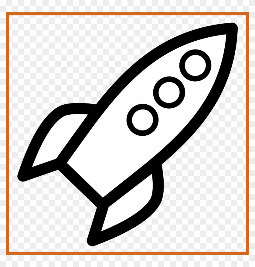 Awesome Rocket Icon Black White Line Art Scalable Vector - Simple Rocket Ship Drawing #1150192