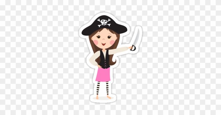 Girl Pirate Cartoon Girl Pirate Cartoon - Pirate Boy Girl Vector #1150536