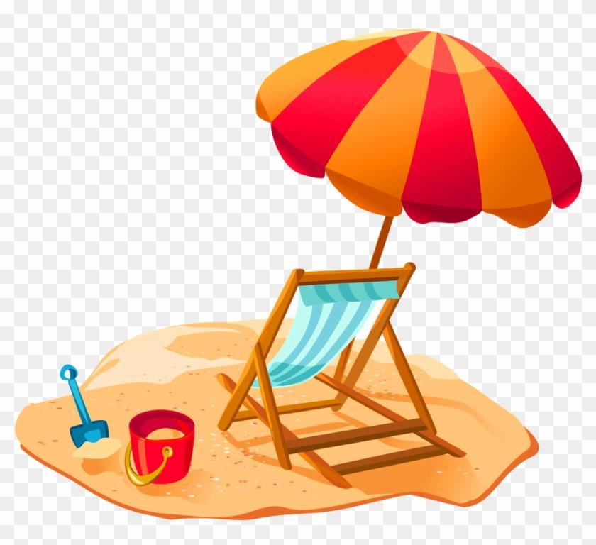 Cartoon Beach Recliner Umbrella Decorative Pattern Plage Parasol Dessin Free Transparent Png Clipart Images Download