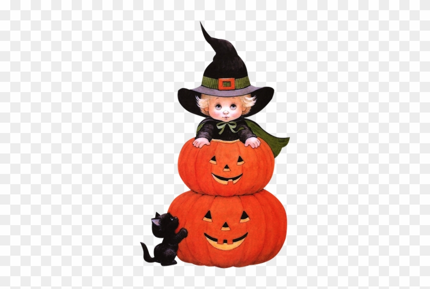 Halloween Witch With Jack O' Lanterns And Black Cat - Cute Cartoon Halloween Witches #1158120