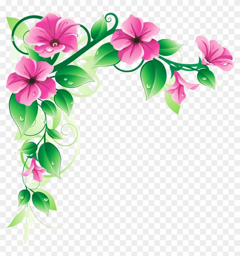 Purple Flowers Border - Corner Flower Designs Png #1158366