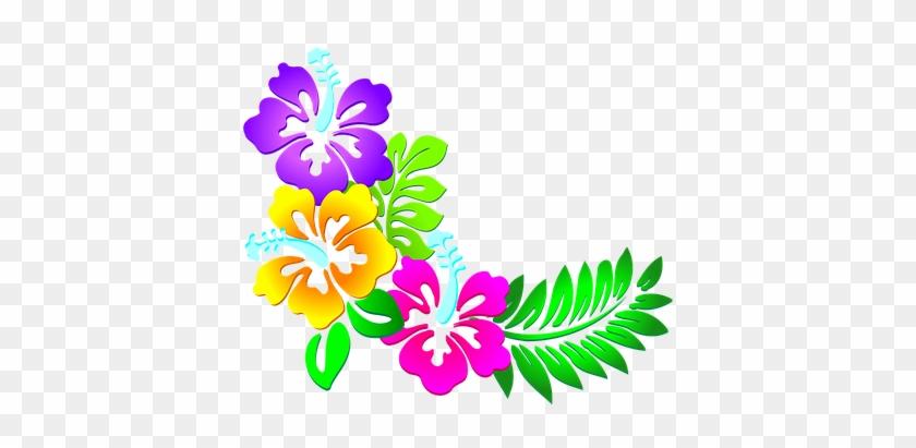 Flowers, Floral, Leaves, Pattern, Border - Hawaiian Flowers Clip Art #1158618