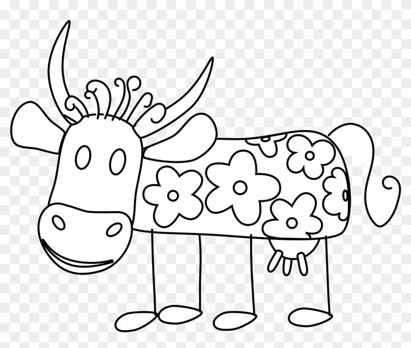 Clip Art Taurine Cattle Vector Graphics Portable Network - Imágenes De Flores Blanco Y Negro #1161274