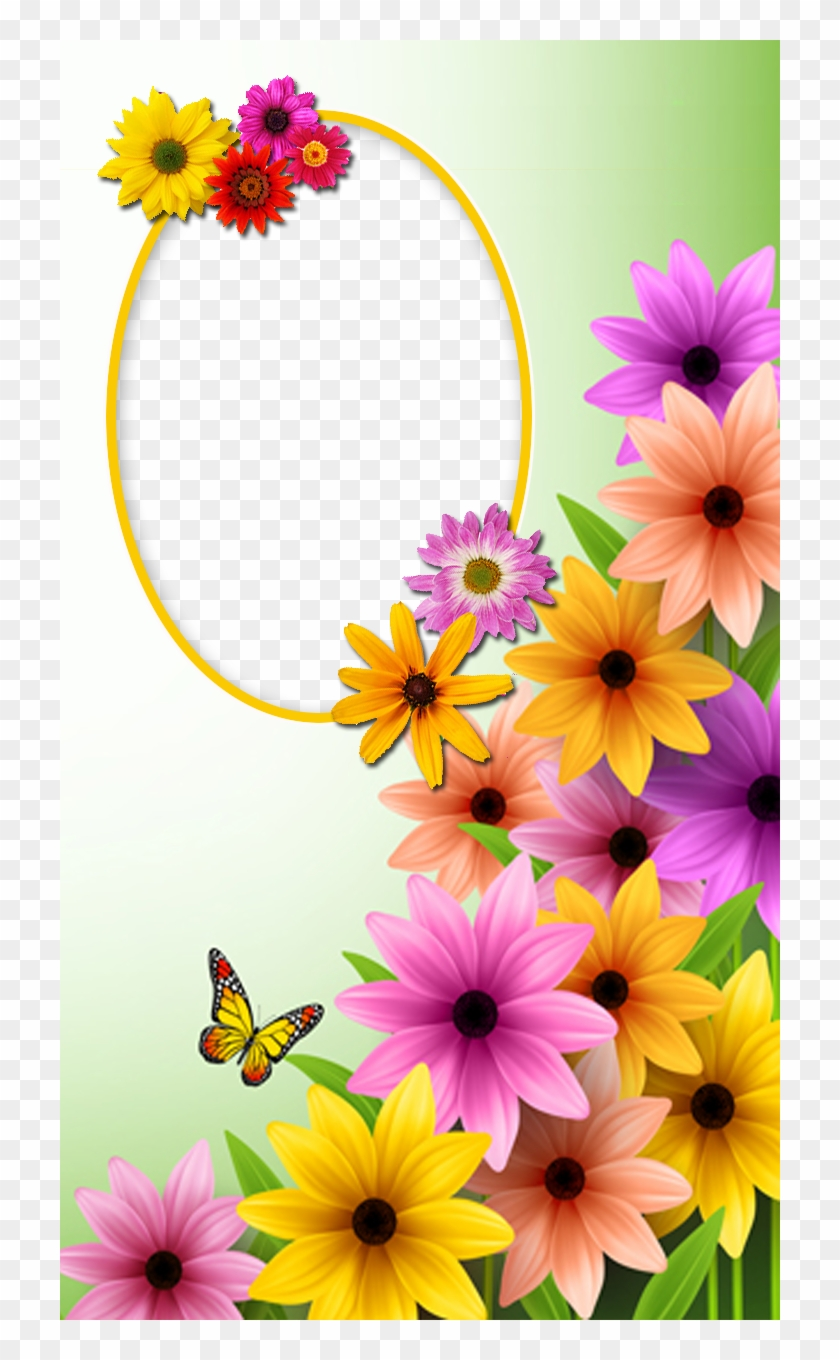Frame With Spring Flowers And Butterfly Good Morning Beautiful Mom Free Transparent Png Clipart Images Download