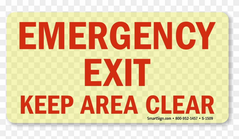 Emergency Exit Keep Area Clear - Brady 84661 Emergency Exit Sign,6-1/2 X 14in,r/wht #1168442