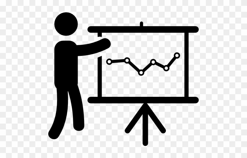 Person In Data Analytics Presentation With A Graphic