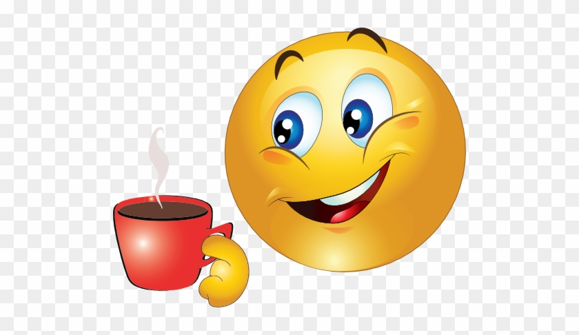 Emoticon Drinking Coffee - Emoji With Coffee - Free Transparent PNG