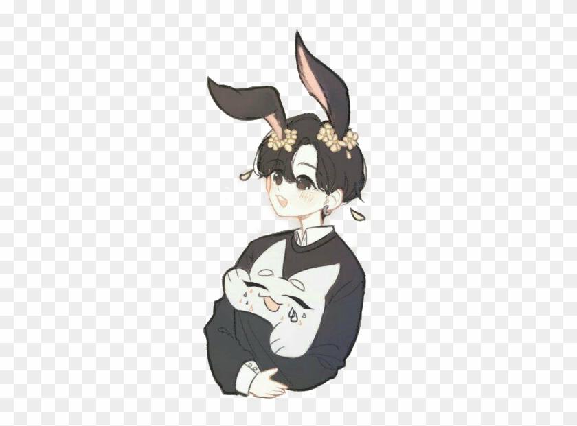 Fan Art Drawing Bts Anime Jungkook Bunny Hybrid Free Transparent