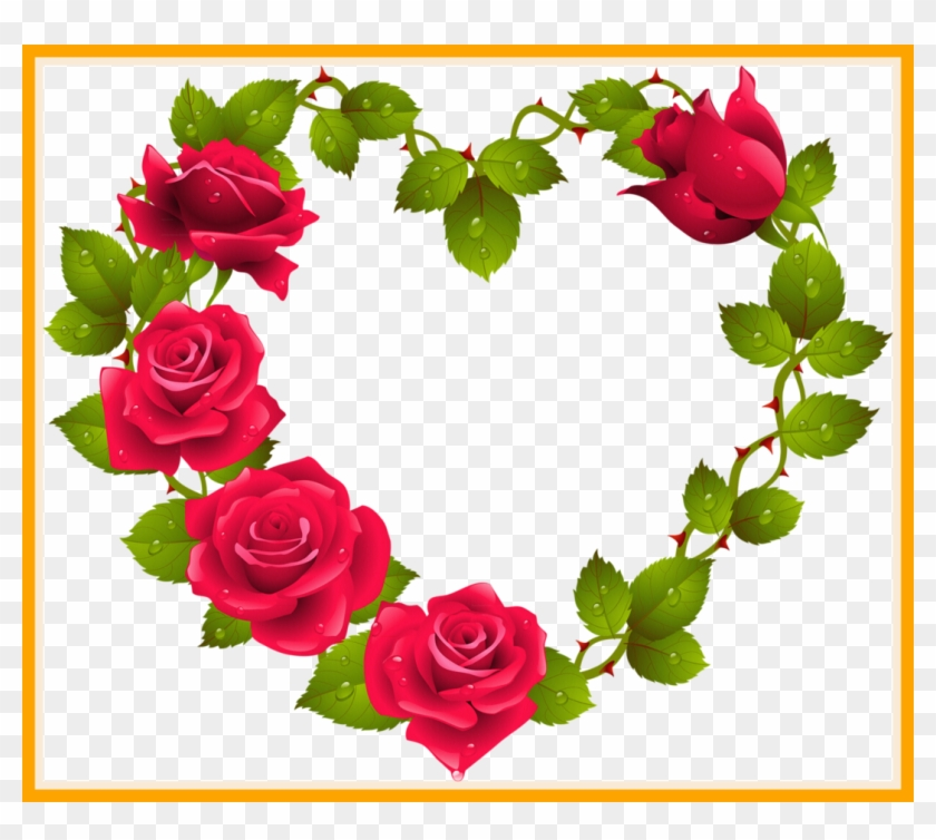Red Rose Bouquet Flower Png The Best Heart Shaped Border Designs