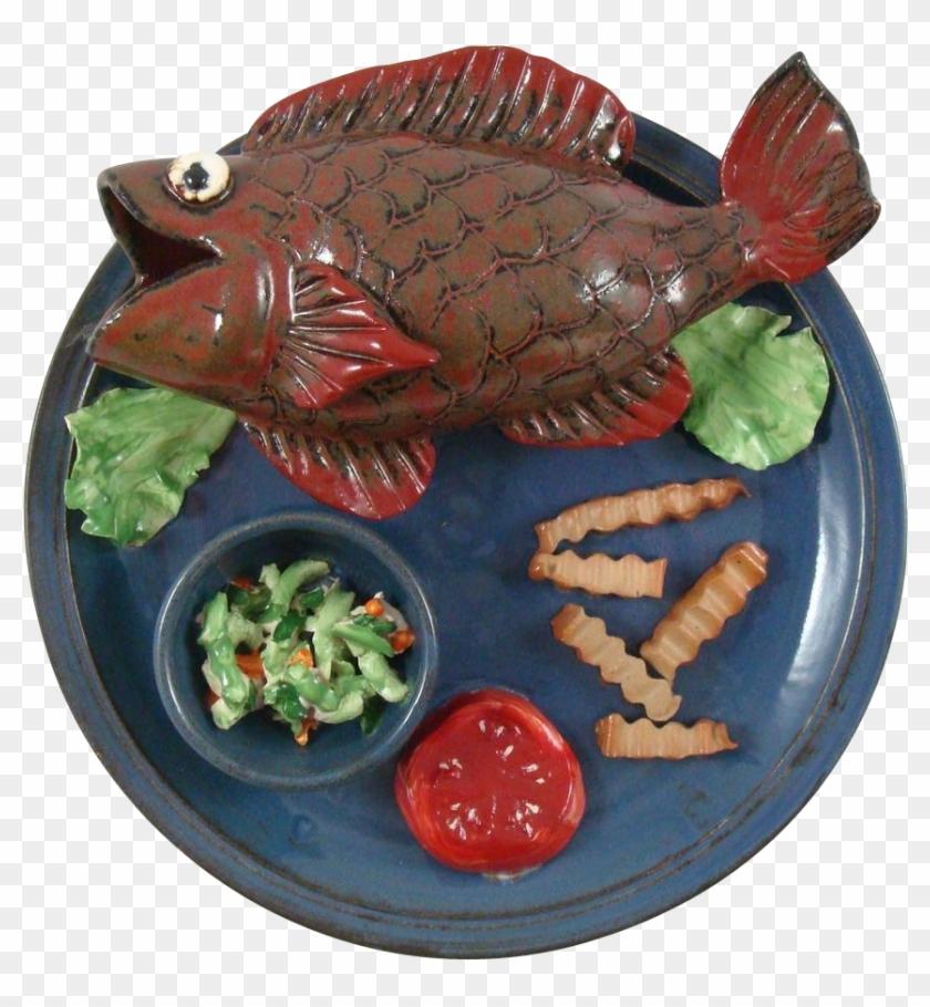 Signed Vintage Art Pottery Fish Coleslaw Tomato Fries - Cabezon (fish) #1177843