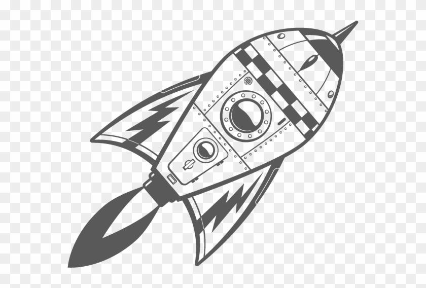 rocket space drawing - 574×488