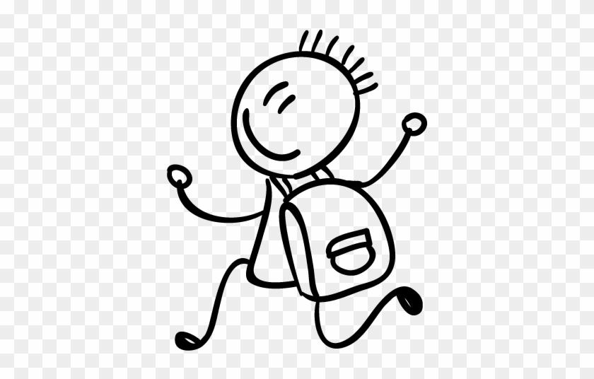Student With School Bag Kids Sticker - Enfant Dessin #1179520