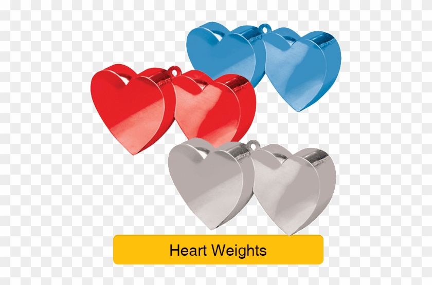6 X Silver Double Heart Balloon Weights #1180433