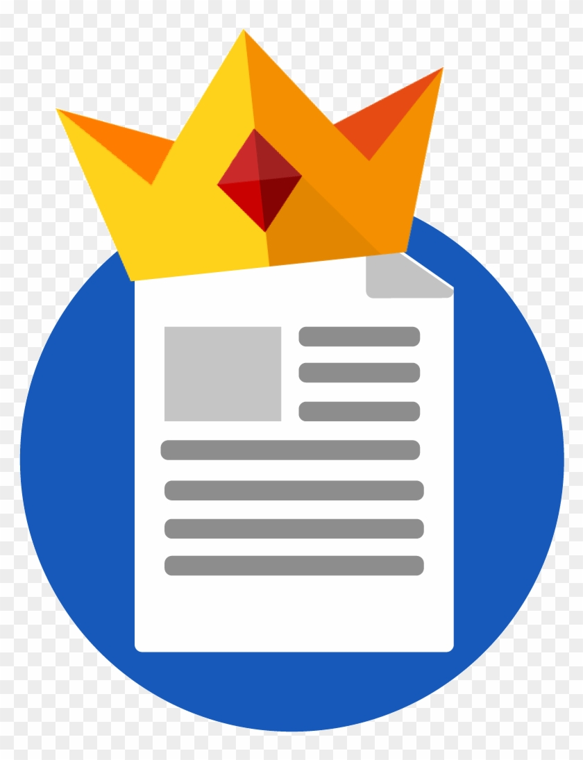 a piece of paper with writing on it and a gold crown - content is
