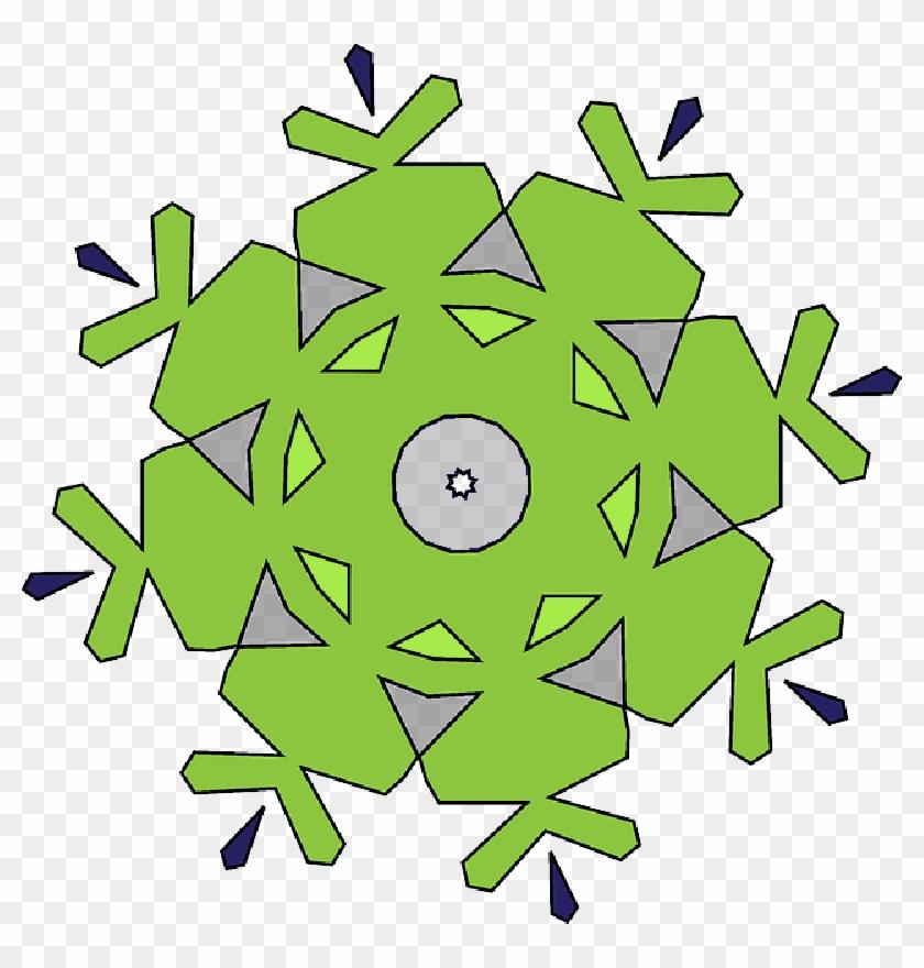 Shape, Colors, Geometric, Kaleidoscope, Tamer, Shapes - Simple Green Snowflake Mugs #1182280