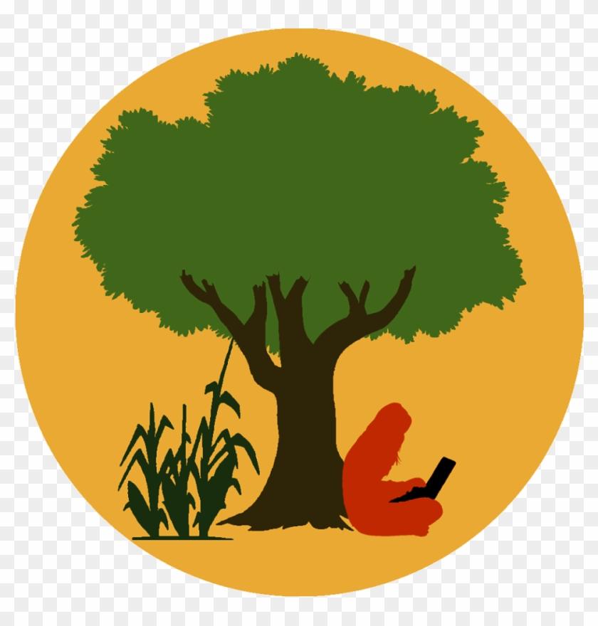 Logo Of Eco Hack Farm, A Person Sitting Under A Tree - Tree - Free