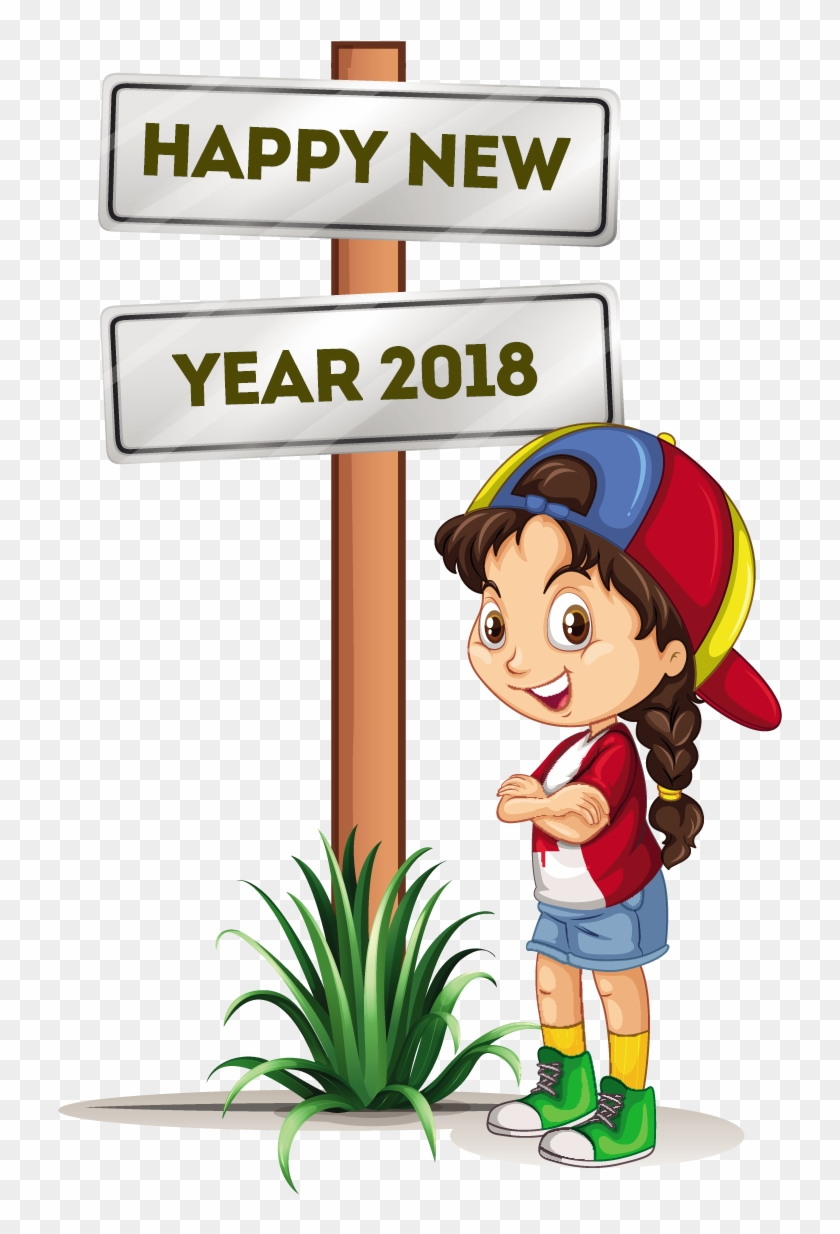 Happy New Year 8 Free Vector Download Coloring Point - Happy New Year 2018 Cartoon #1182543