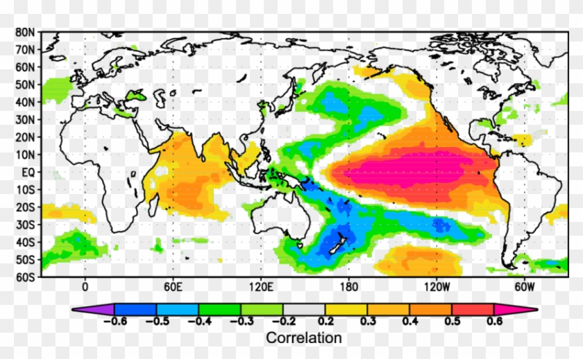 Spatial Correlations Between Tree Ring D 18 O And Annual - World Map #1182664