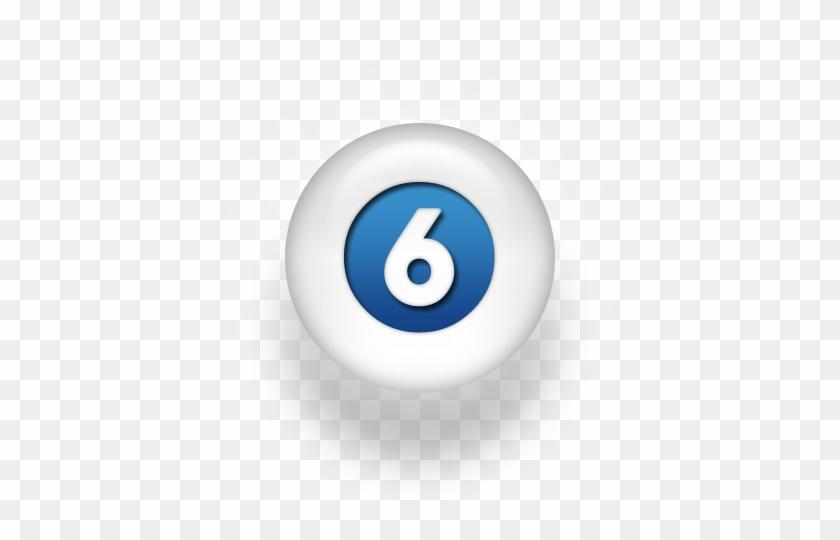 070170 Blue White Pearl Icon Alphanumeric N6 Solid - Billiard Ball #1184543