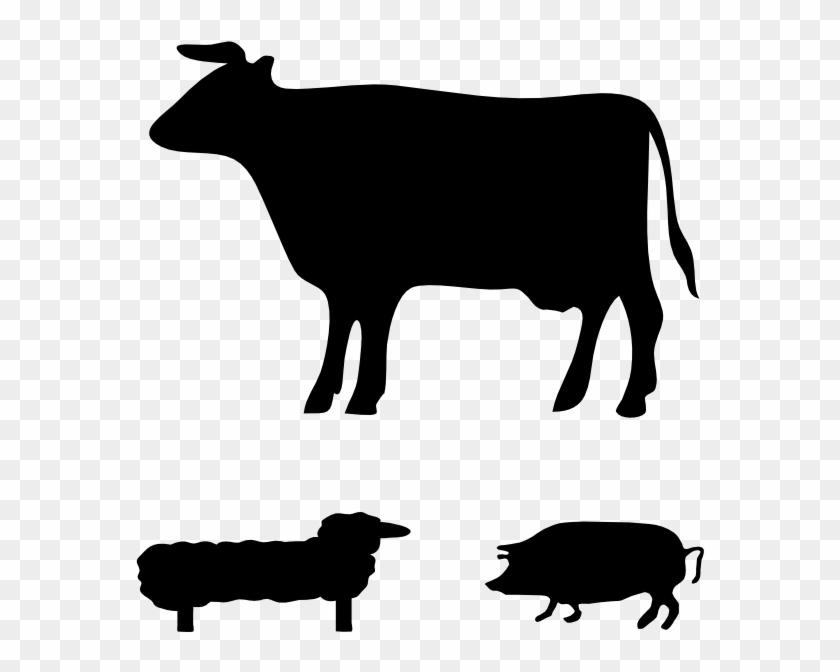 Farm Animals Clip Art - Pig Silhouette Clip Art #193208