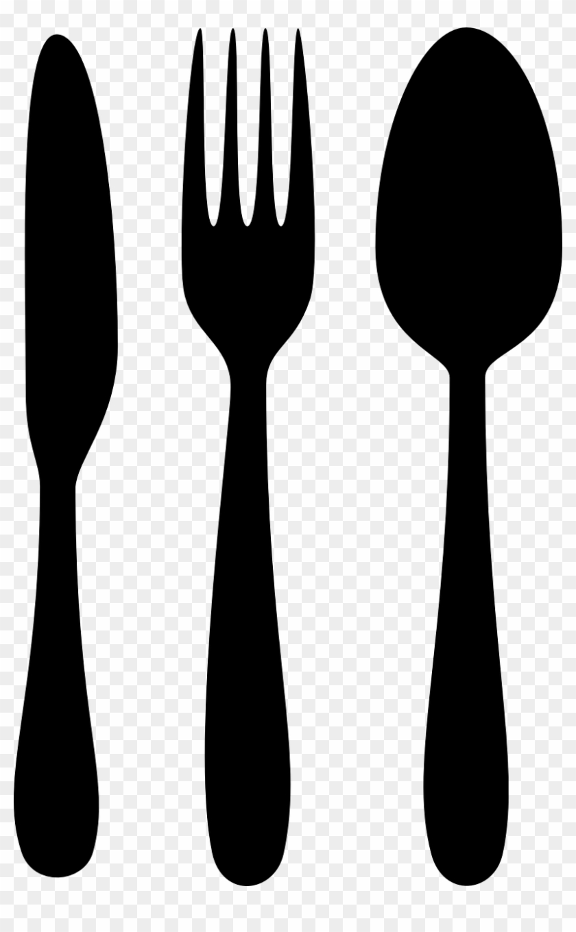 Chef Clipart Black And White - Spoon And Fork Png #193359