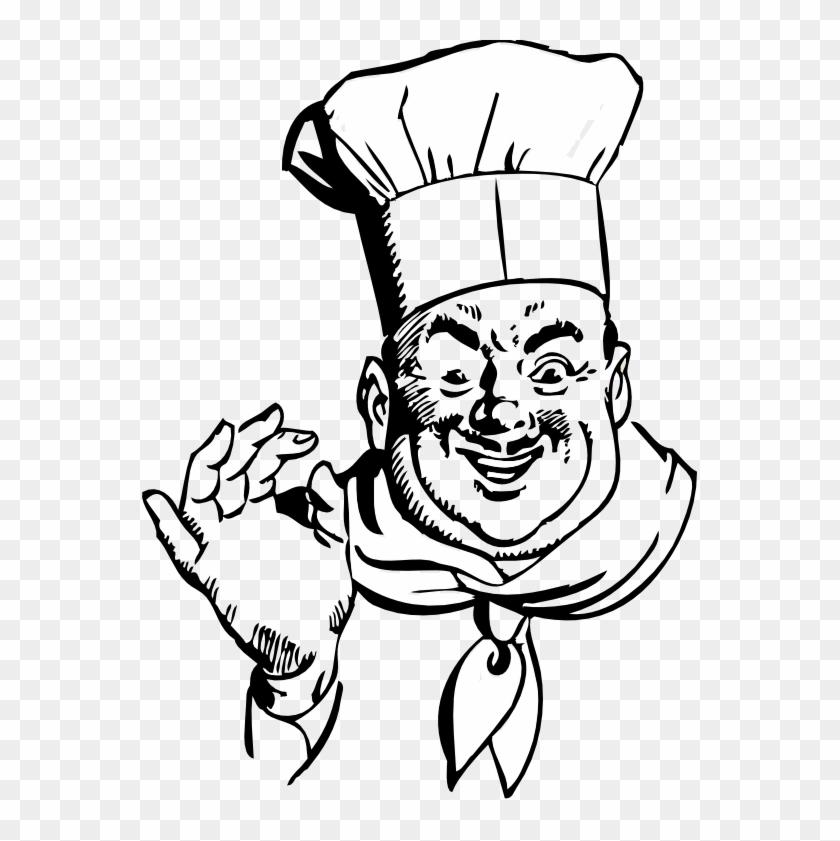 Happy Chef Black White Line Art 555px - Chef Clipart Black And White #193369