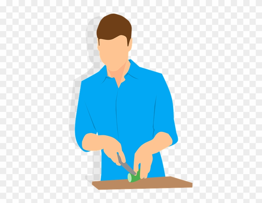 Cooking, Man, Knife, Cutting, People, Desktop, Isolated - Knife Cutting Cartoon Png #193475