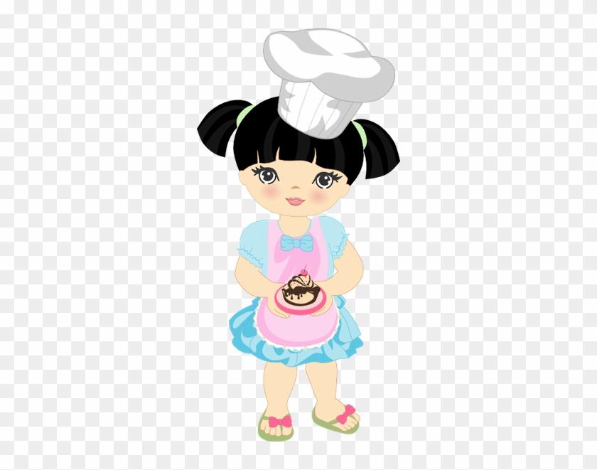 Food Clipartgirl Clipartpastry Chefart - Desenho Chef De Cozinha Menina Png #193534