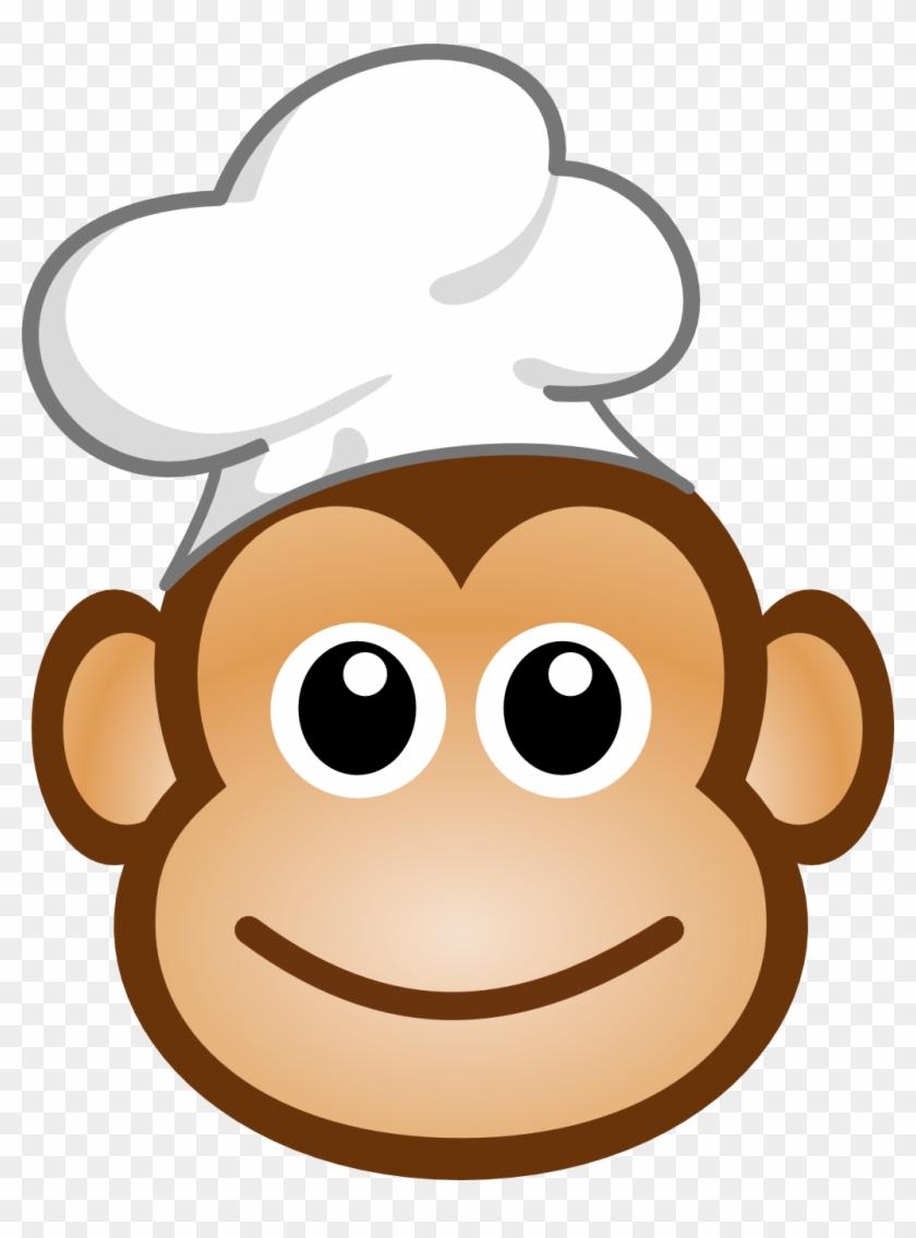 Logo Cuisine Amusante Singe Chef Aux Yeux Kawaii - Monkey Face Cartoon Type #194221