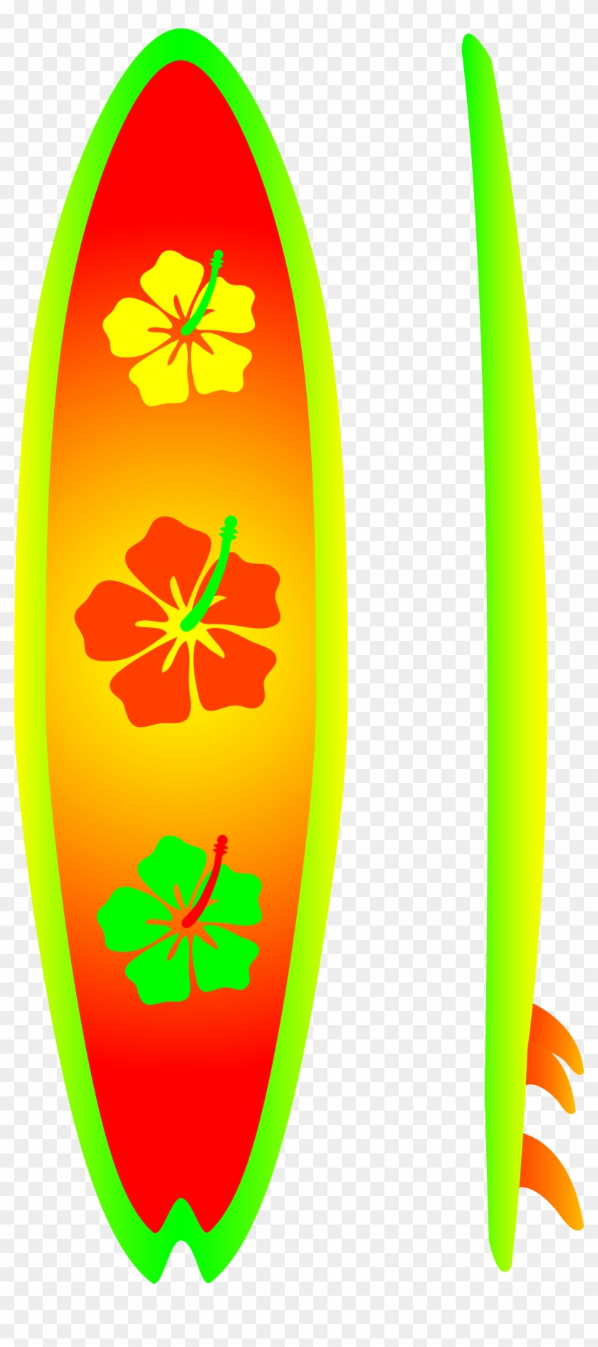 Neon Surfboard With Hibiscus Design Free Clip Art - Surf Board Clip Art #194346