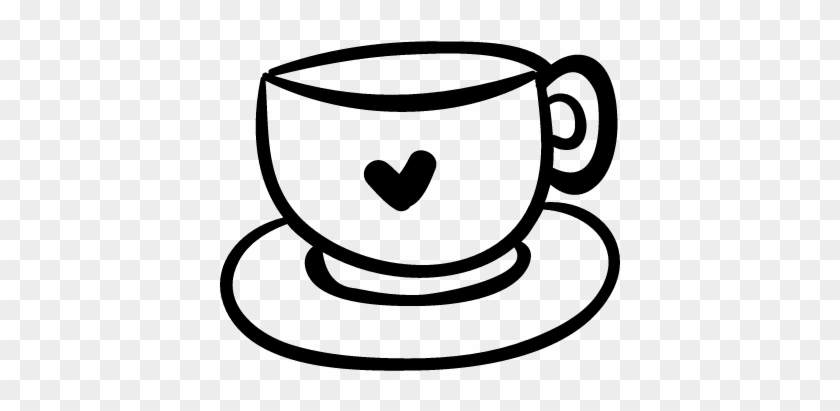 Coffee Clipart Black And White - Coffee Mug With Heart #194524