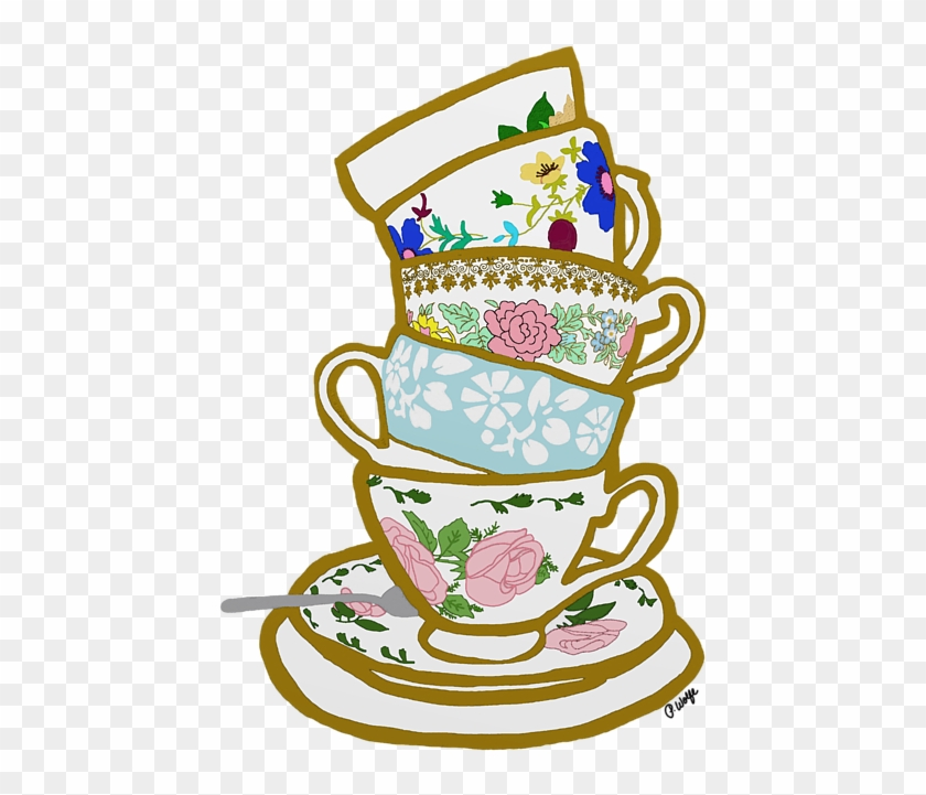 Teacup Drawing Clip Art - Stacked Tea Cups Transparent #194647