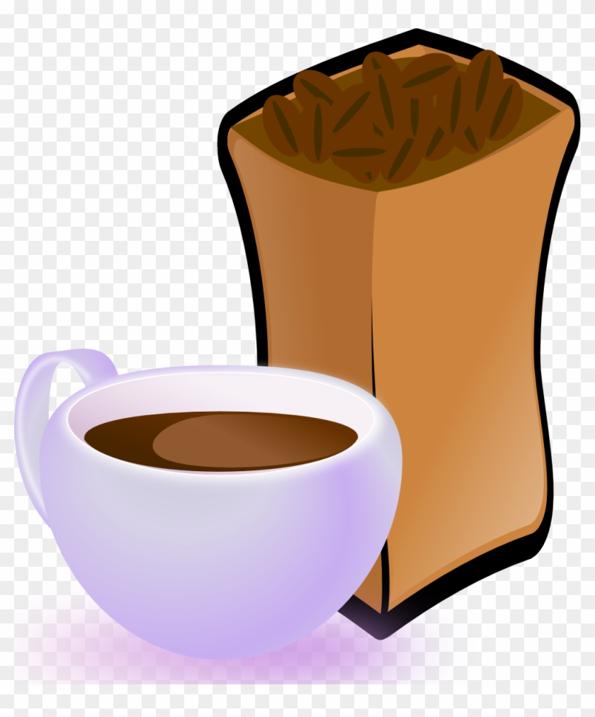 Free Cup Of Coffee With Sack Of Coffee Beans - Coffee Beans Clip Art #194711